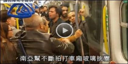 Pelea en el metro de Hong Kong