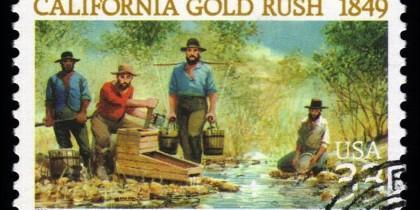 Una estampilla conmemorativa de 'La fiebre del oro' en Estados Unidos, la cual comenzó a finales de la década de 1840