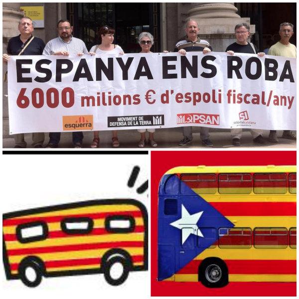 Independentistas catalanes con una pancarta de 'Espanya ens roba' y el autobús de la estelada.