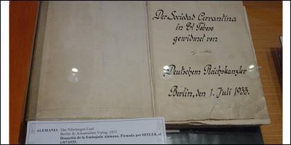Ejemplar del «Quijote» dedicado por Hitler al museo de El Toboso.