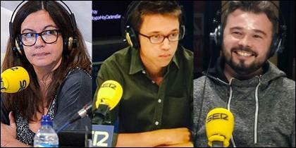 Angels Barceló, Iñigo Errejón y Gabriel Rufián.