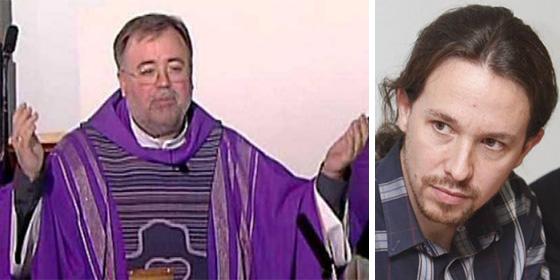 El sacerdote de la última Misa emitida en La2 y Pablo Iglesias.
