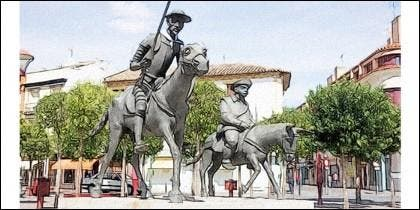 Hidalgo y escudero, en Alcázar de San Juan.