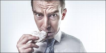 Empleado, ejecutivo, funcionario, menú y dieta.