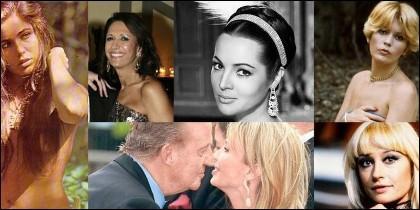 El Rey Juan Carlos y algunas de sus supuestas amantes.