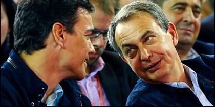 Pedro Sánchez con José Luis Rodríguez Zapatero (PSOE).