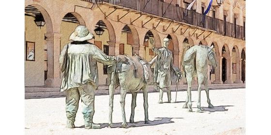 Detalle de la plaza Mayor de Villanueva de los Infantes.