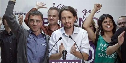 Monedero, Pablo Iglesias y otros de Podemos.