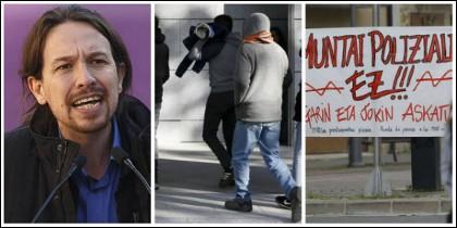 Pablo Iglesias, los detenidos en Alsasua y una pancarta de apoyo a los violentos.