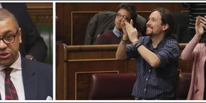 James Cleverly, diputado torie y Pablo Iglesias e Irene Montero jaleando a los violentos de Alsasua.
