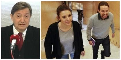 Losantos, Irene Montero y Pablo Iglesias.