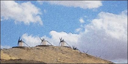 Molinos de viento en el cerro Calderico.