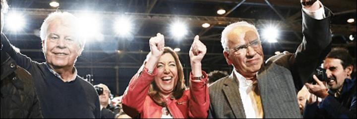 El expresidente Felipe González, Susana Díaz y Alfonso Guerra (PSOE).
