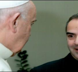 El Rector del Colegio Español de Roma, José San José, con el Papa