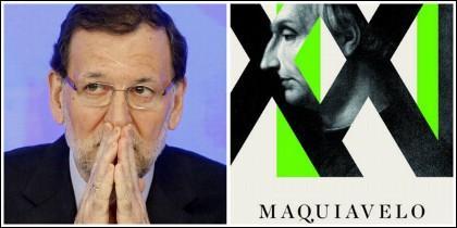Mariano Rajoy y la portada de 'Maquiavelo para el siglo XXI'.