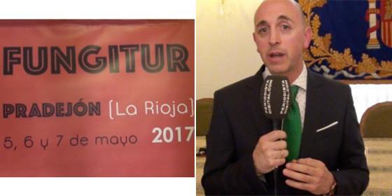 Cartel de Fungitur 2017 y el alcalde de Pradejón, Óscar León.