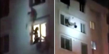El bombero rescatando a la mujer china