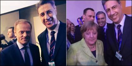 Albiol con Tusk y Merkel.
