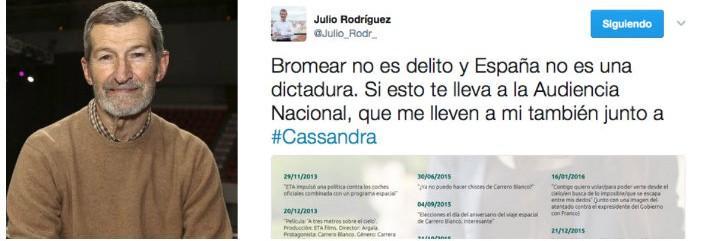 Julio Rodríguez y su tuit de apoyo a Cassandra.