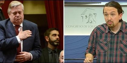 Leopoldo López padre en el Congreso y Pablo Iglesias en rueda de prensa.