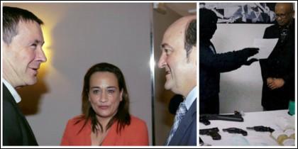 Romero (PSOE) en el centro, junto a Otegi y Ortúzar, a la derecha, el último falso desarme de ETA.
