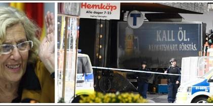 Manuela Carmena y el camión usado en Estocolmo para el atentado terrorista.