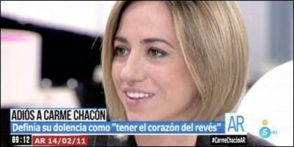 Carme Chacón en Telecinco en 2011.