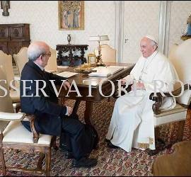 Francisco con el superior de los maristas, Emili Turú