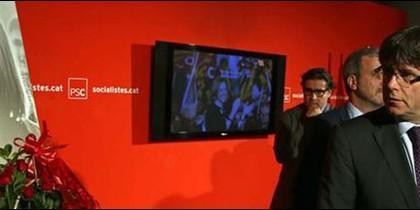 Carles Puigdemont en el acto de despedida a Carmen Chacón.