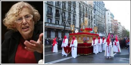 Manuela Carmena y la procesión de El Divino Cautivo.