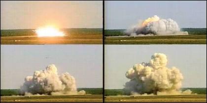 El impacto d ela GBU-43, la 'Madre de todas las Bombas'.