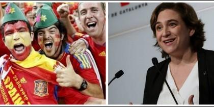 Hinchas de la Selección española en Cataluña y Ada Colau.