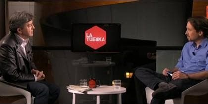 Jean-Luc Mélenchon entrevistado por Pablo Iglesias en 'La Tuerka' en 2015.