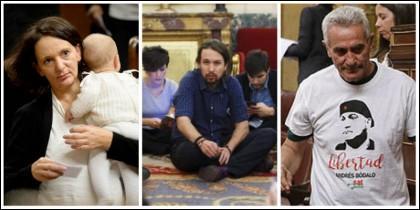 Tres momentos del circo podemita: Iglesias en el suelo, Bescansa con el bebé y Cañamero con sus camisetas.
