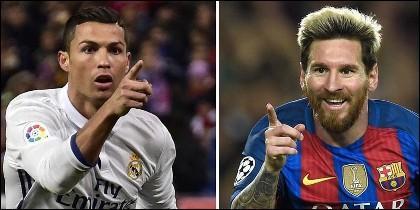 Cristiano Ronaldo (REAL MADRID) y Leo Messi (BARÇA).