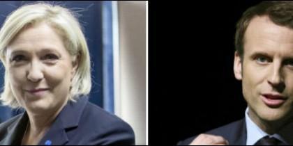 Marine Le Pen, líder del Frente Nacional y Emmanuel Macron, líder de 'En Marche!'.