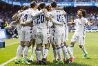 El Real Madrid celebra un gol, a pase de Marcelo.