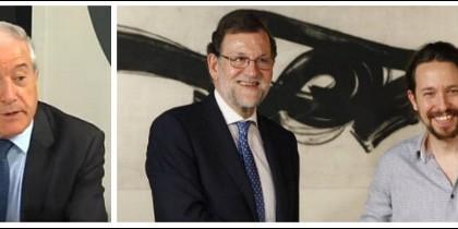 Jesús Cacho y Mariano Rano Rajoy con Pablo Iglesias.
