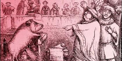 Ilustración del 'Juicio de una cerda y su cría en Lavegny', del 'Libro de los días', (1863).