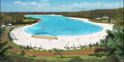 La laguna con playa del proyecto de ocio y casinos de Cordish.