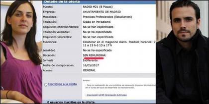 Rita Maestre, la oferta de RadioM21 y Alberto Garzón.