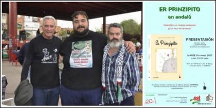 Cañamero, El Pancetas y Sánchez Gordillo junto al cartel de presentación.