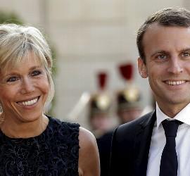 Brigitte Trogneux y Emmanuel Macron.
