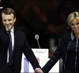 Macron y Brigitte Trogneux