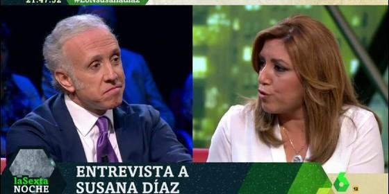 Eduardo Inda (OKDIARIO) y Susana Díaz (PSOE).