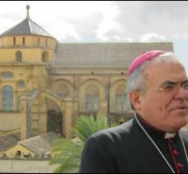 Demetrio Fernández, con la Mezquita-Catedral del fondo