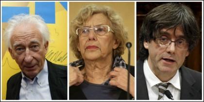 Albert Boadella, Manuela Carmena y Carles Puigdemont.