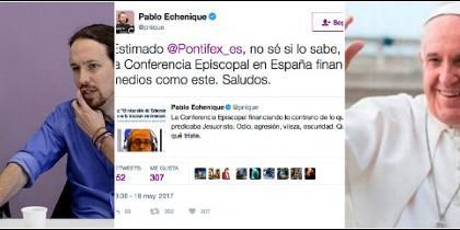Echenique y Pablo Iglesias; su tuit contra la COPE y el Papa Francisco.