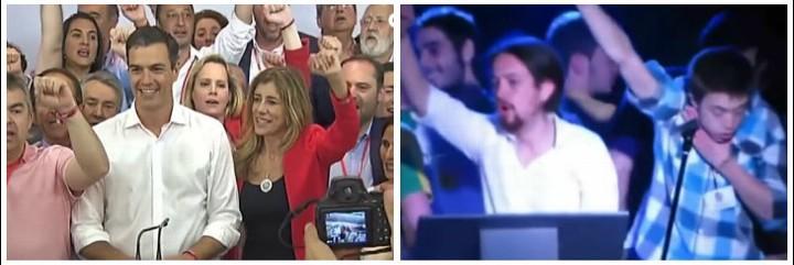Pedro Sánchez y su mujer cantando La Internacional, al igual que Podemos.