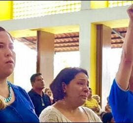 Católicos venezolanos manifestándose en Managua